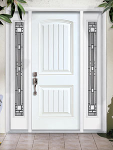 Image of 2 Panel Soft Arch w Planks High Def Door Exterior Image from Samuel Stamping